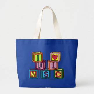 I Love Music Blocks Large Tote Bag