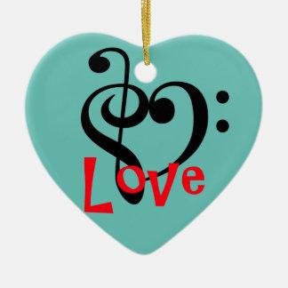 I Love Music Ceramic Ornament