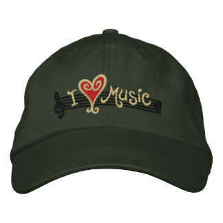 I Love Music Embroidered Hats