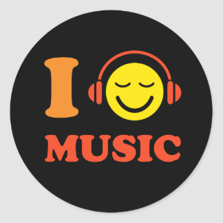 I love music happy smiley face with headphones round sticker