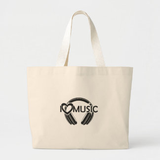 I love music headphones large tote bag