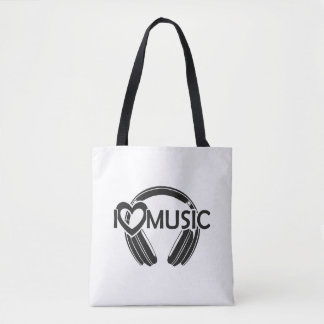 I love music headphones tote bag
