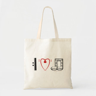 I Love Music (I heart notes) Budget Tote Bag