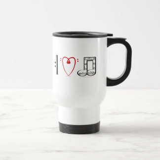 I Love Music (I heart notes) Travel Mug
