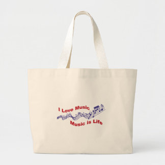 I love music Music is life Large Tote Bag