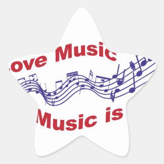 I love music Music is life Star Sticker
