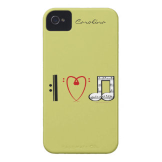 I Love Music Music Lovers Custom Name Skin iPhone 4 Case-Mate Cases