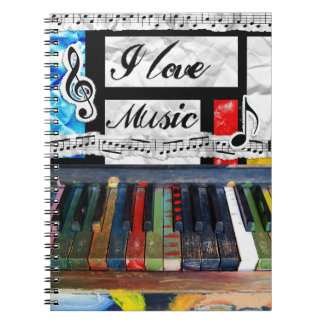 I Love Music Musical Notes Piano Keys Notebook