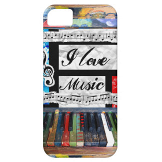 I Love Music Musical Notes Piano Keys Phone Case