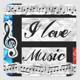 """I Love Music"" Musical Notes Stickers"
