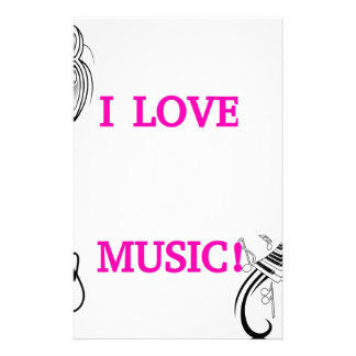 I LOVE MUSIC! PERSONALIZED STATIONERY
