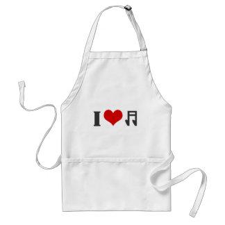 I love music. Red heart design Standard Apron