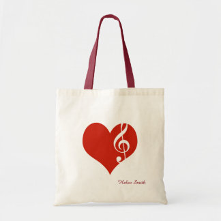 i love music / red heart tote bag