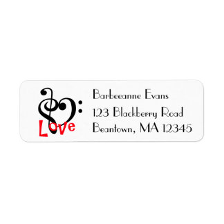 I Love Music Return Address Label