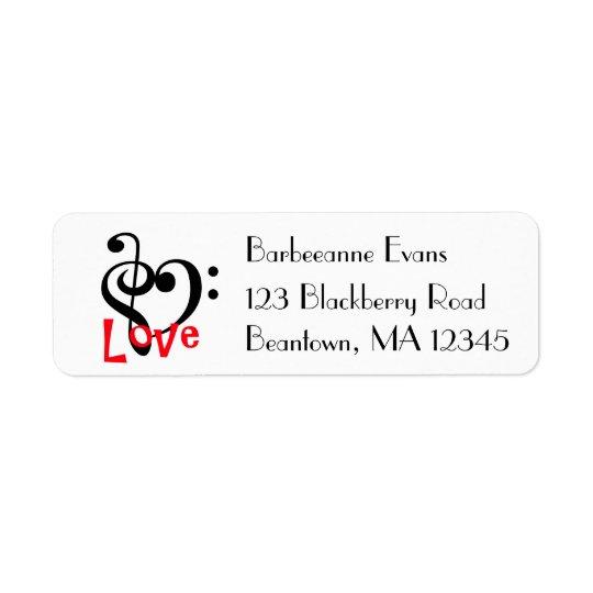I Love Music Return Address Label