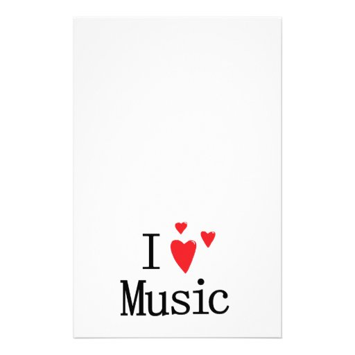 I Love Music Personalized Stationery