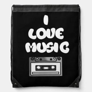 I Love Music Tape Cassette Retro Digital Art Drawstring Backpacks