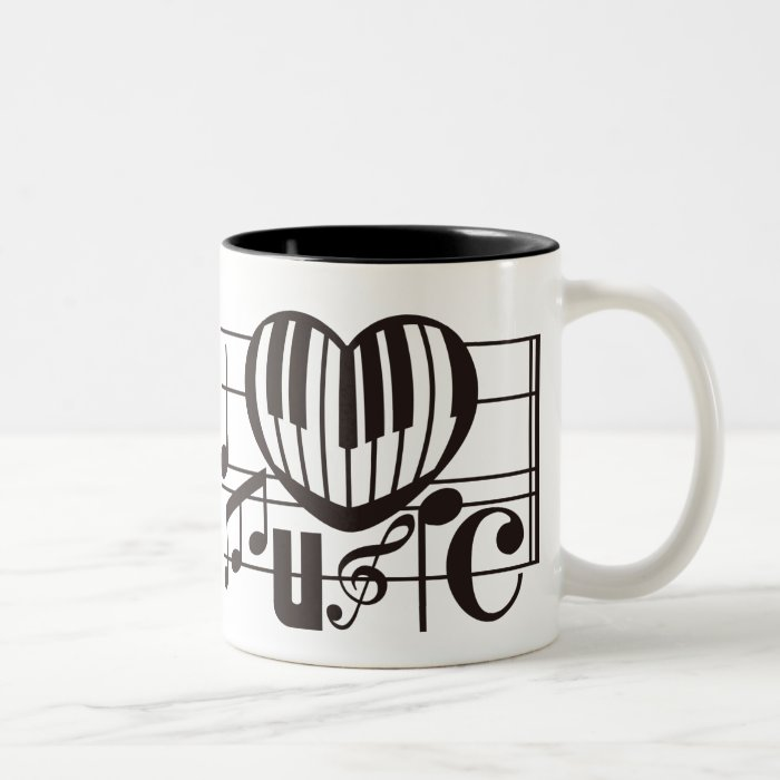 I LOVE MUSIC Two-Tone COFFEE MUG