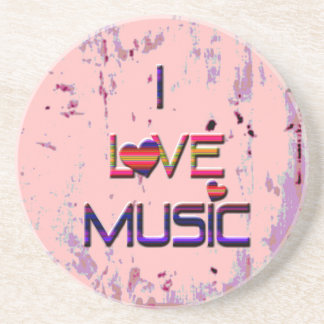 I Love Music with Hearts Sandstone Coaster