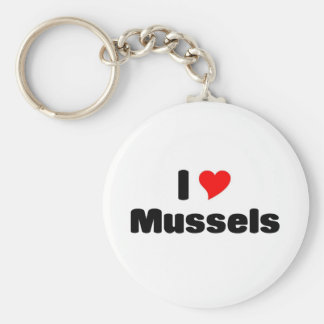 I love mussels basic round button key ring