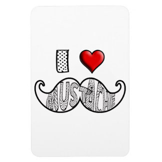 I Love Mustache Flexible Magnets