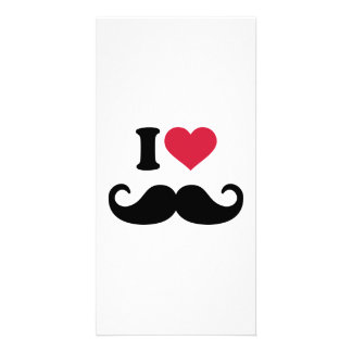 I love Mustache Customized Photo Card