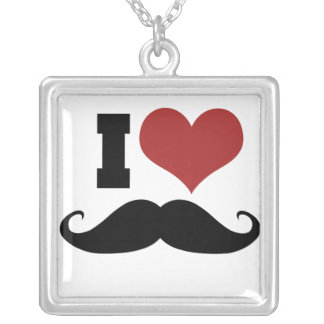 I Love Mustache Silver Plated Necklace