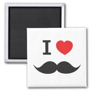I Love Mustache Square Magnet