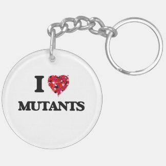 I Love Mutants Double-Sided Round Acrylic Key Ring