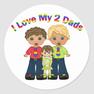 I Love My 2 Dads Gay Father's Day Tees and Gifts Round Sticker