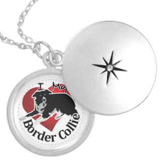 I Love My Adorable Funny & Cute Border Collie Dog Silver Plated Necklace