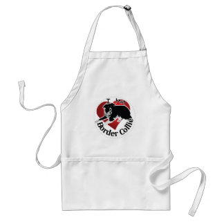 I Love My Adorable Funny & Cute Border Collie Dog Standard Apron