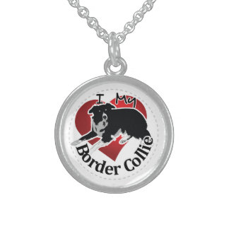 I Love My Adorable Funny & Cute Border Collie Dog Sterling Silver Necklace