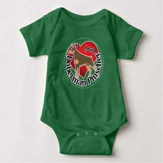 I Love My Adorable Funny & Cute Doberman Pinscher Baby Bodysuit