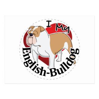 I Love My Adorable Funny & Cute English Bulldog Postcard