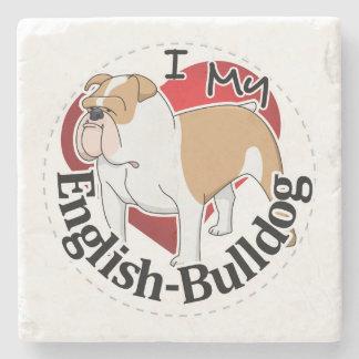 I Love My Adorable Funny & Cute English Bulldog Stone Coaster