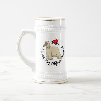 I Love My Afghan Hound Dog Beer Stein