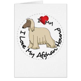 I Love My Afghan Hound Dog Card