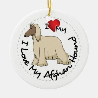 I Love My Afghan Hound Dog Ceramic Ornament