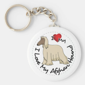 I Love My Afghan Hound Dog Key Ring