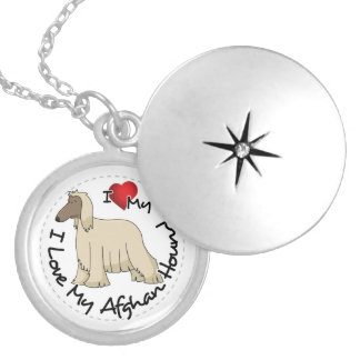 I Love My Afghan Hound Dog Locket Necklace