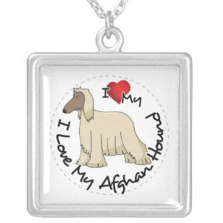 I Love My Afghan Hound Dog Silver Plated Necklace