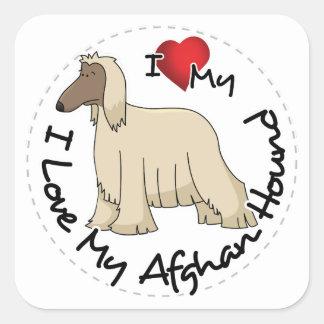 I Love My Afghan Hound Dog Square Sticker