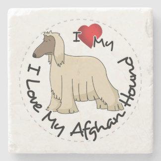 I Love My Afghan Hound Dog Stone Coaster