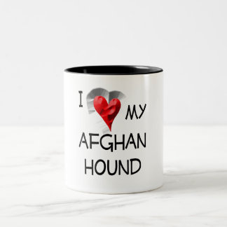 I Love My Afghan Hound Two-Tone Coffee Mug