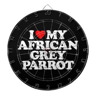 I LOVE MY AFRICAN GREY PARROT DART BOARD