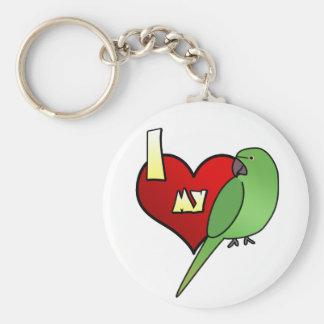 I Love my African Ringneck Parakeet Key Ring