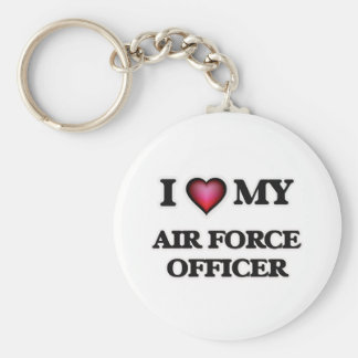 I love my Air Force Officer Basic Round Button Key Ring