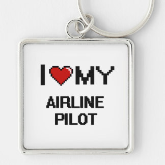 I love my Airline Pilot Silver-Colored Square Key Ring