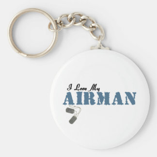 I Love My Airman Basic Round Button Key Ring